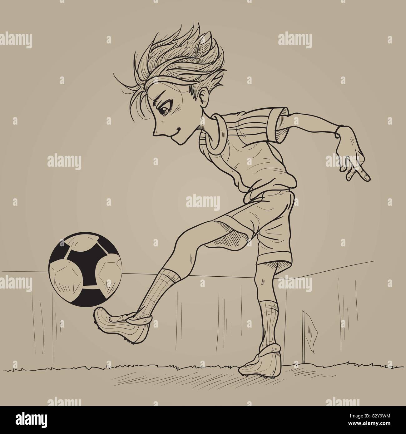 Line art football juggling - Stock Vector