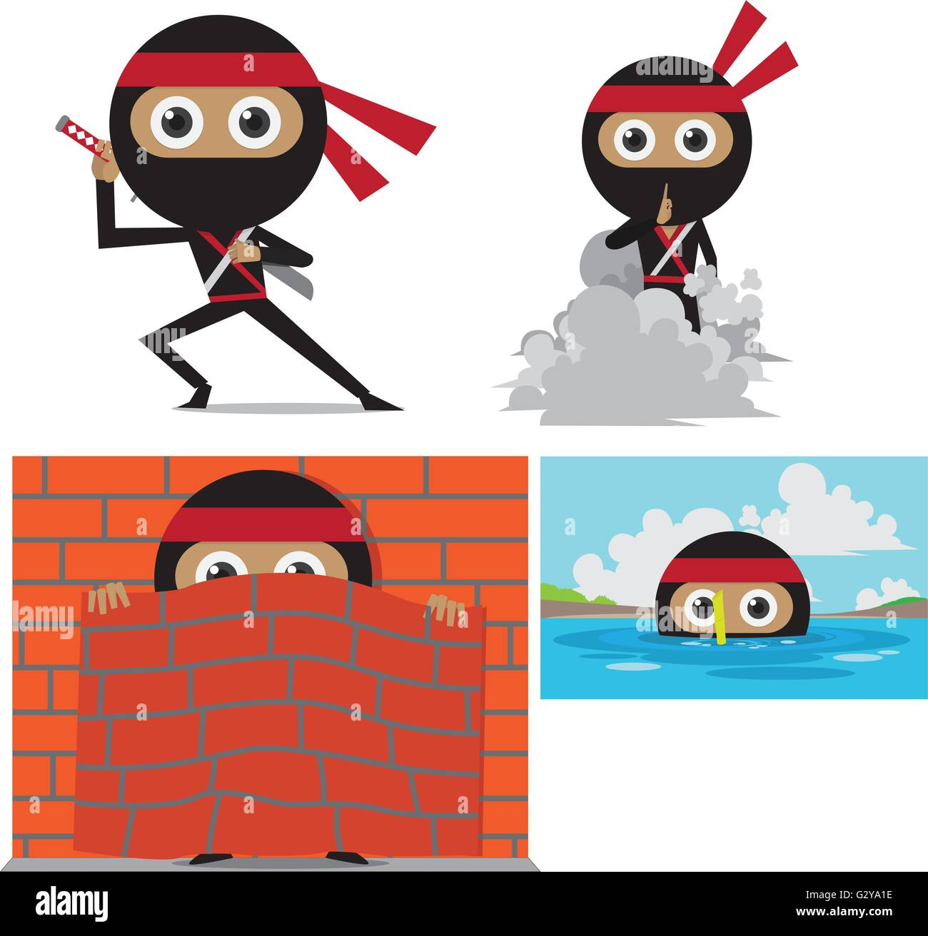 Ninja Cartoon - Stock Vector