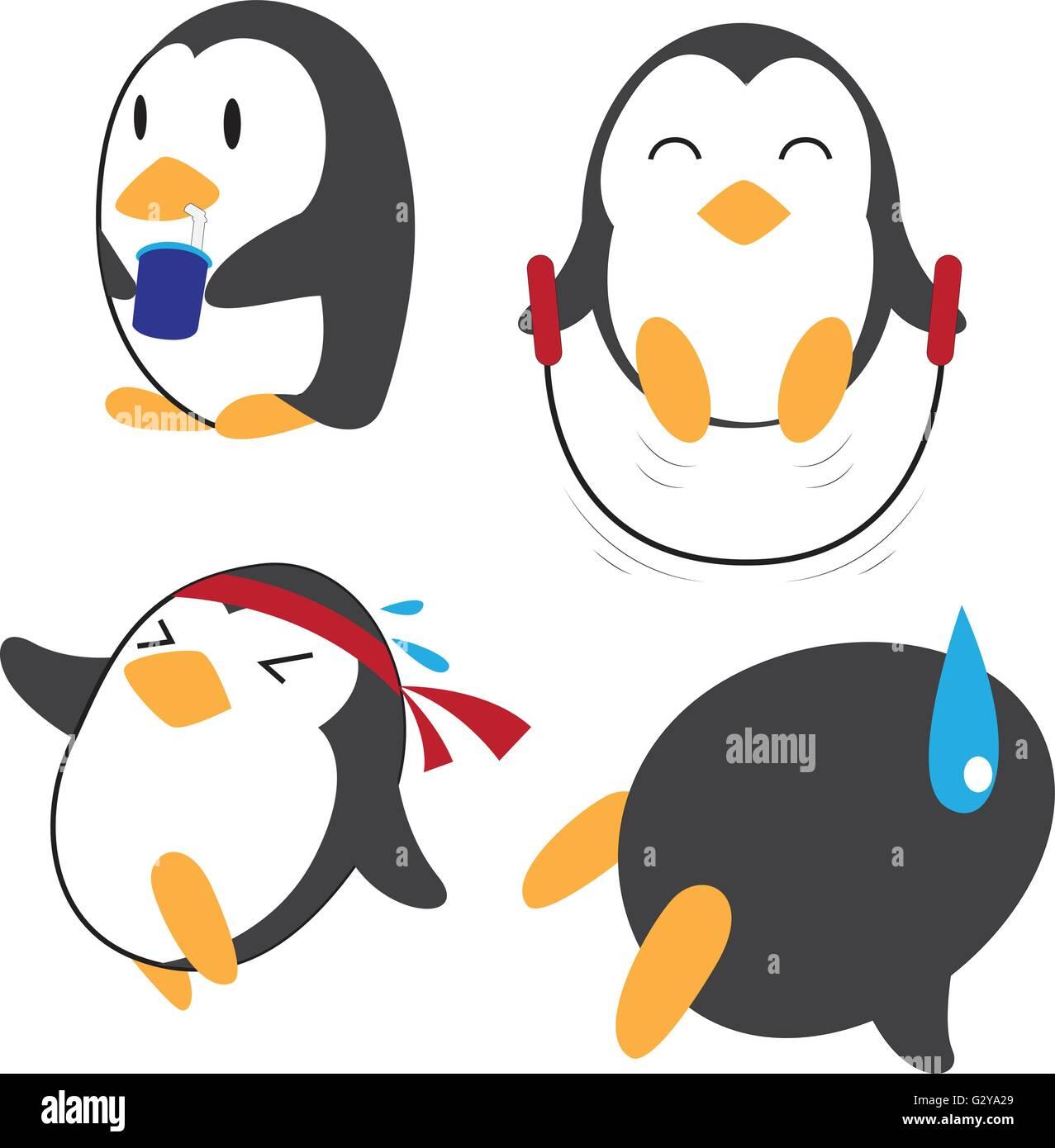 Penguin Exercising - Stock Vector