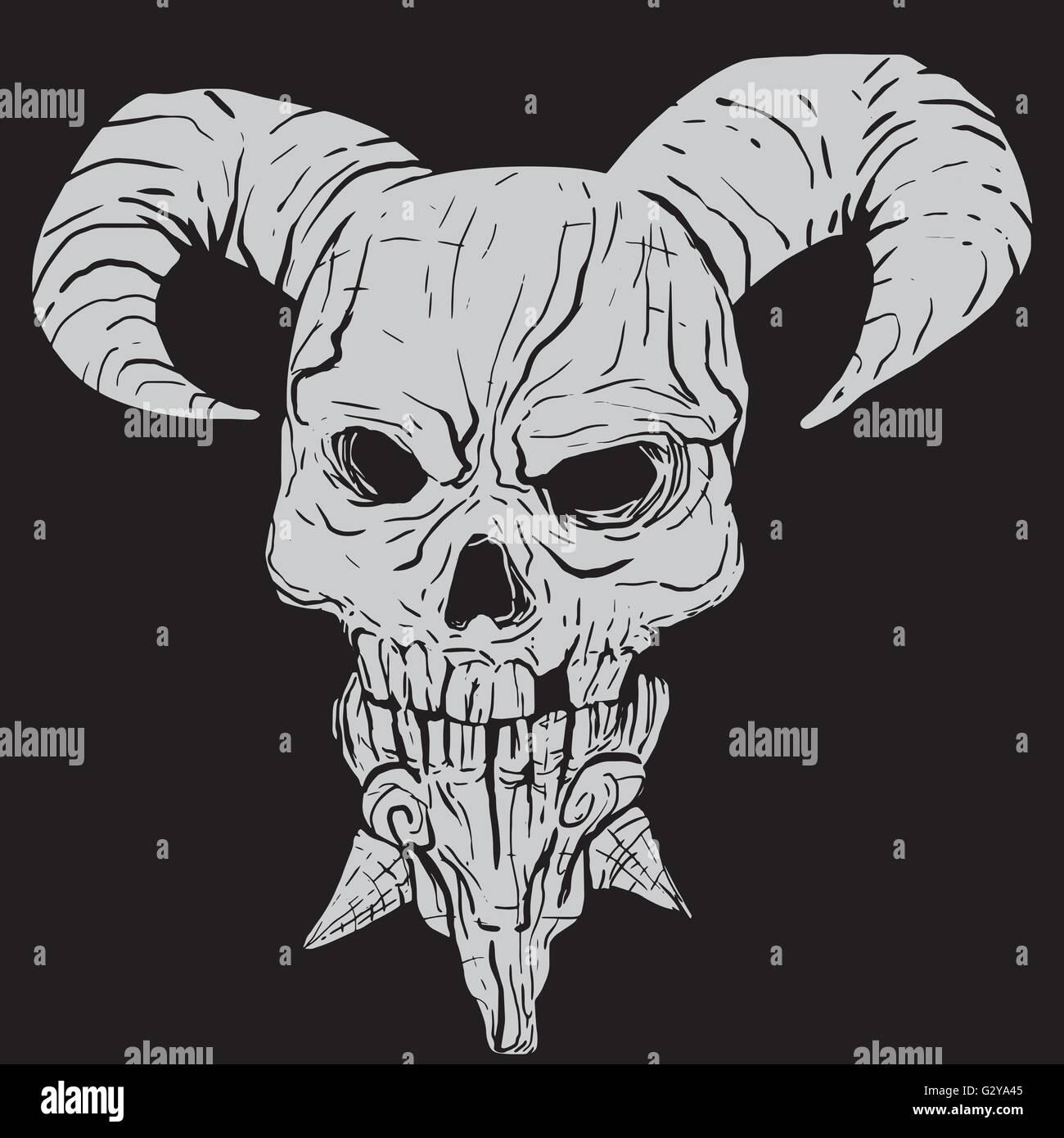 demon skull stock vector art illustration vector image 105092181