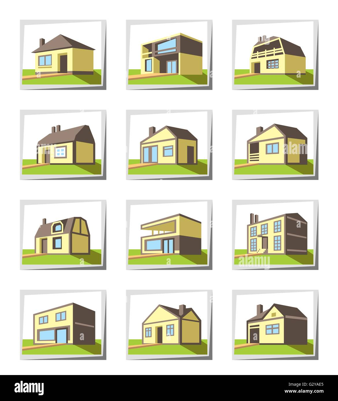 Various types of houses - vector illustration - Stock Image