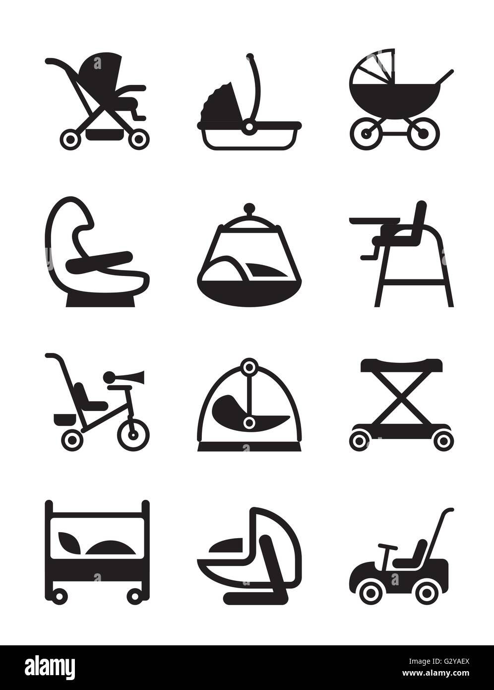 Children and baby accessories - vector illustration - Stock Image