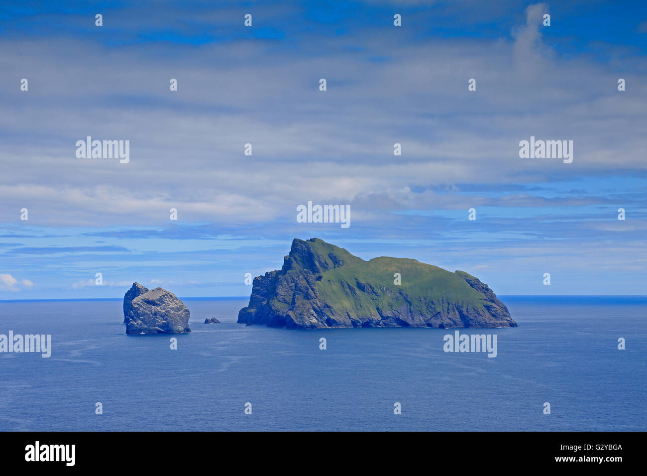 Boreray from the gap on Hirta St Kilda taken on a sunny day - Stock Image