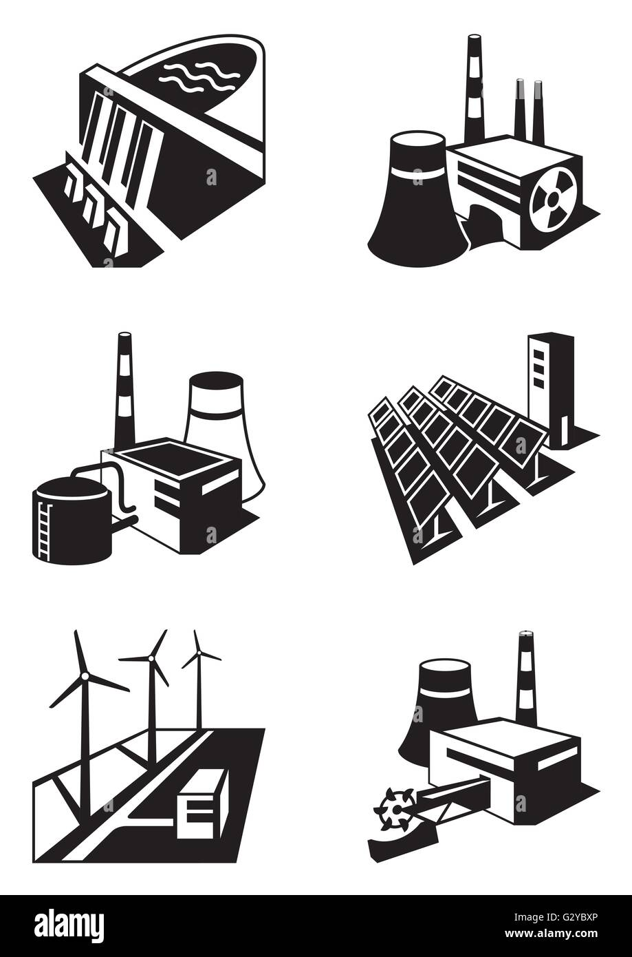 Different power plants - vector illustration - Stock Image