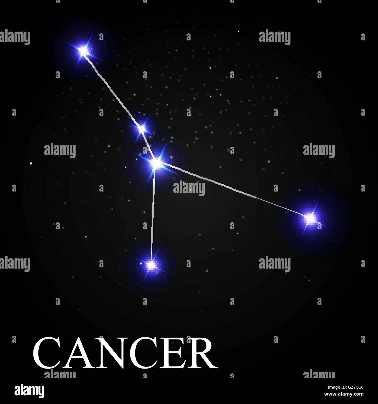 Cancer Zodiac Sign With Beautiful Bright Stars On The Background