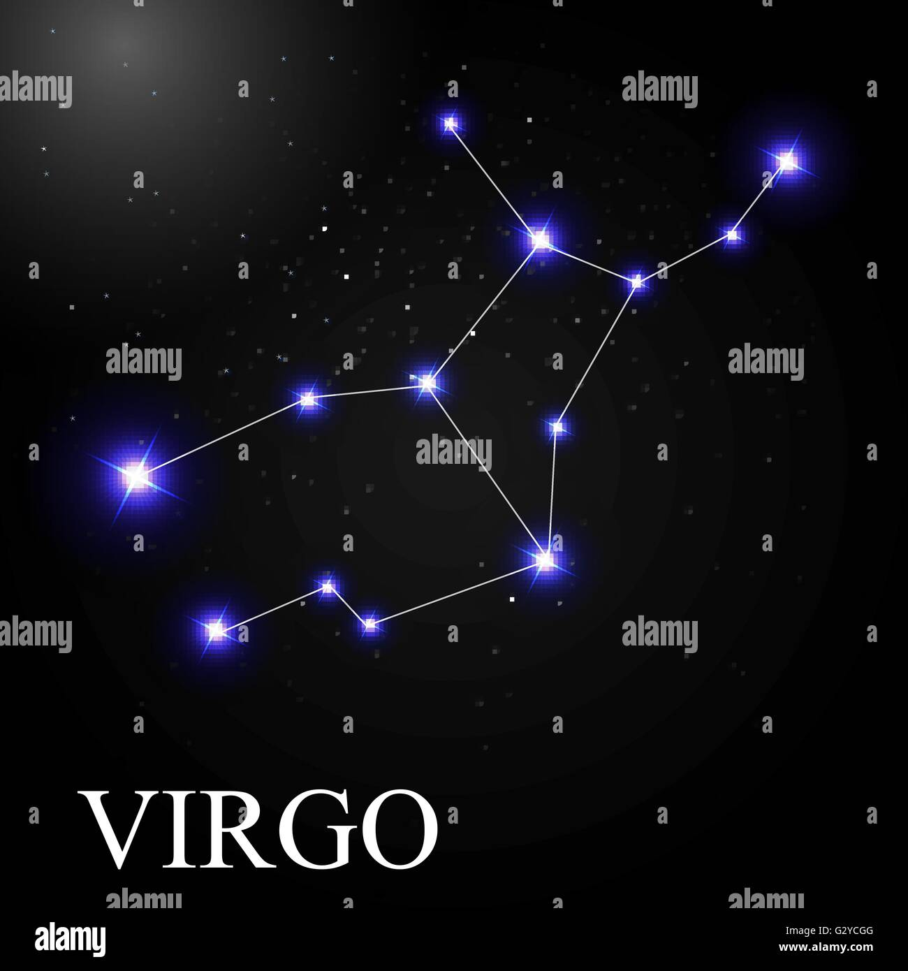Virgo Zodiac Sign with Beautiful Bright Stars on the