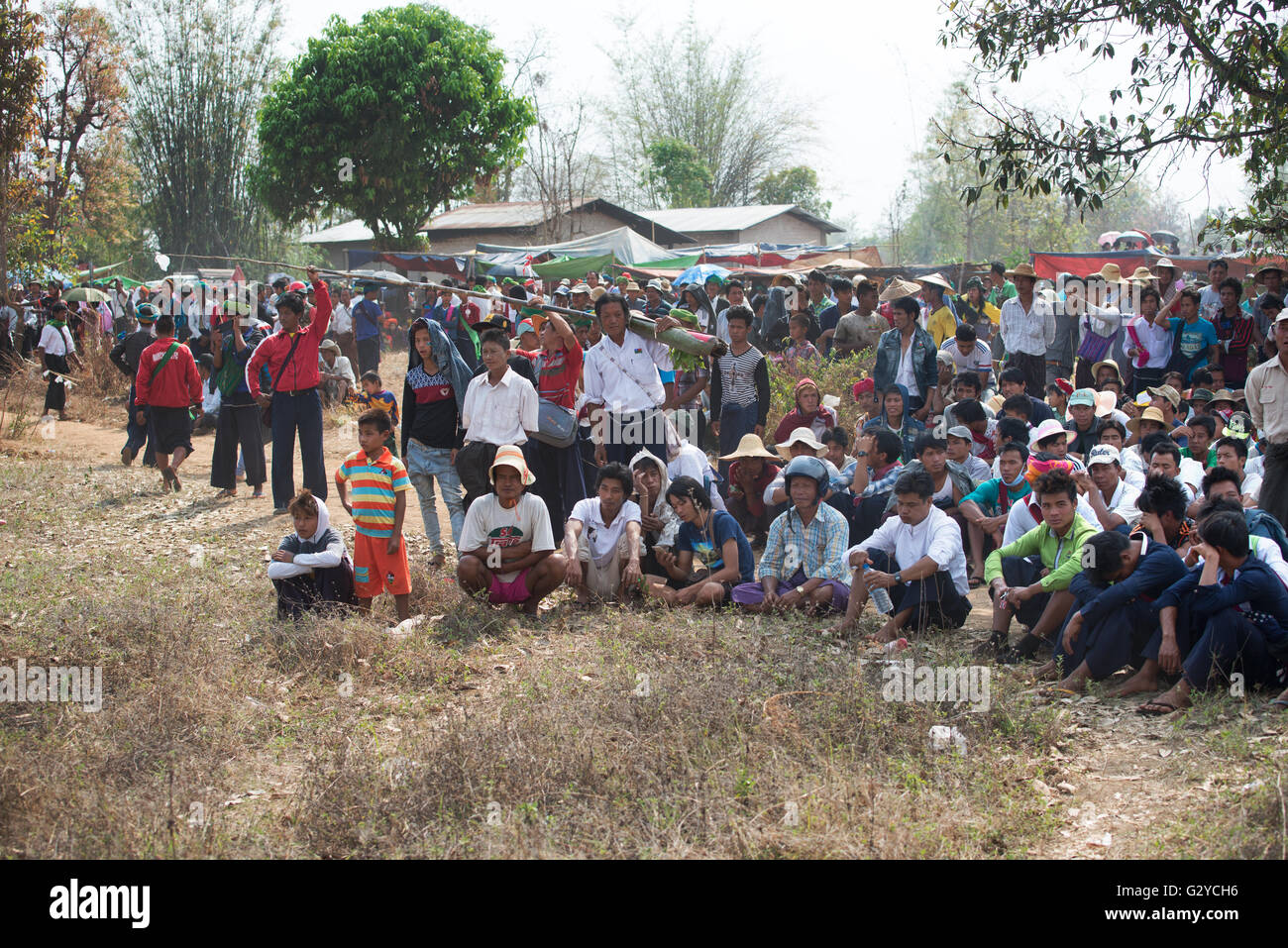 People attending at the bamboo rockets flying contest during Pa'O people National Day in Demoso, Kayah State, - Stock Image