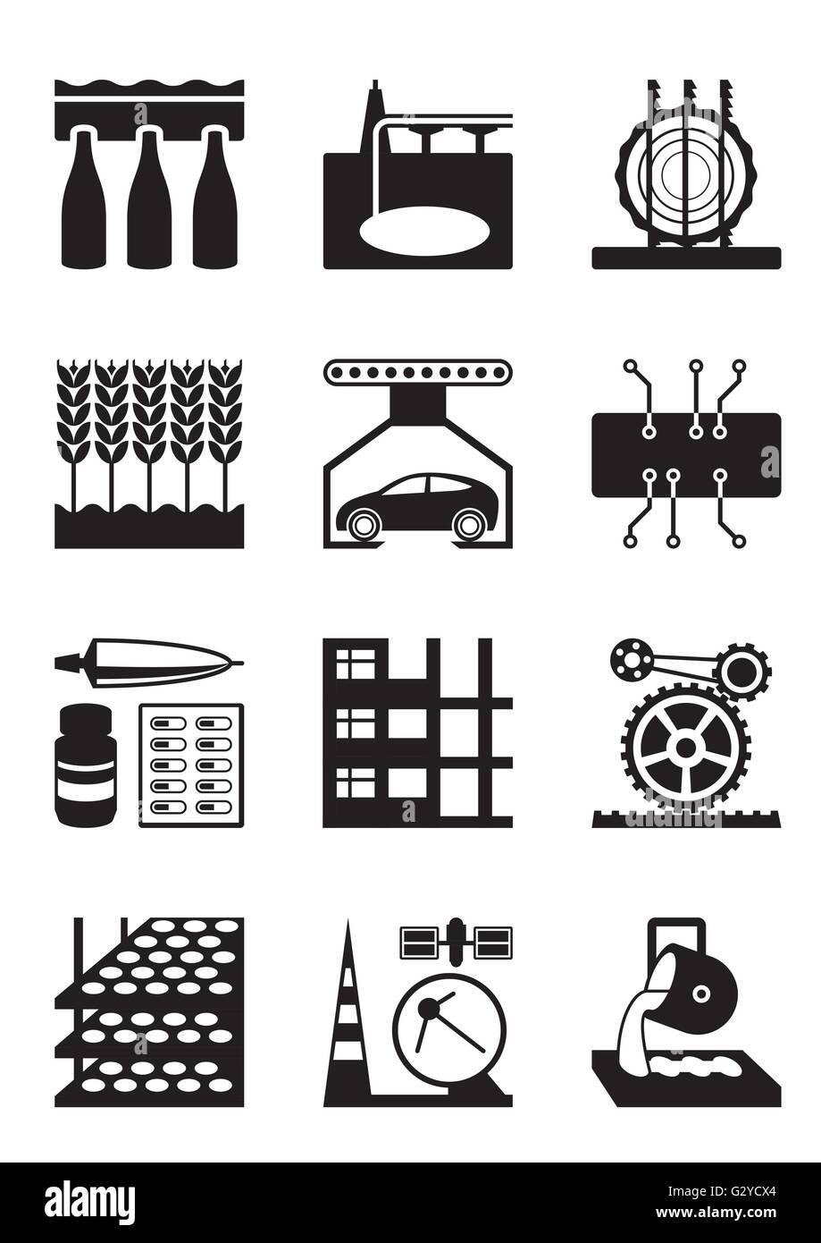 Light and heavy industry - vector illustration - Stock Vector