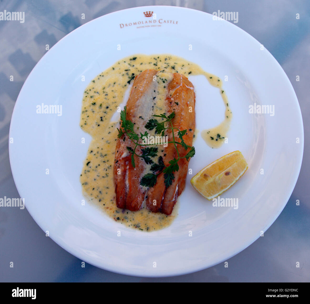 Breakfast kipper served at Dromoland Castle - Stock Image