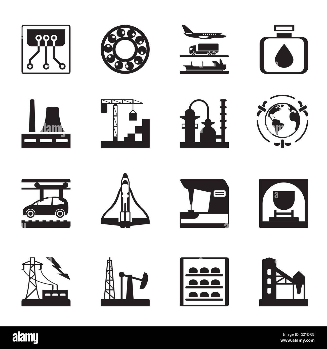 Plants for light and heavy industry - vector illustration - Stock Vector