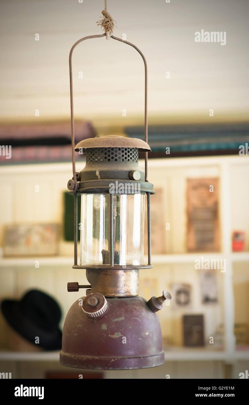 Old rusty kerosene gas lamp - Stock Image