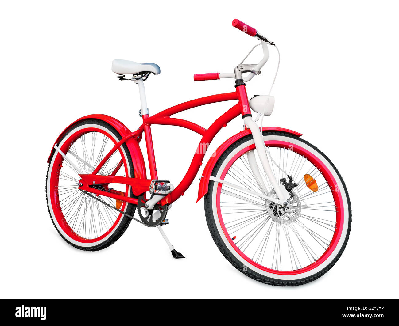 Red bike isolated on white with clipping path - Stock Image