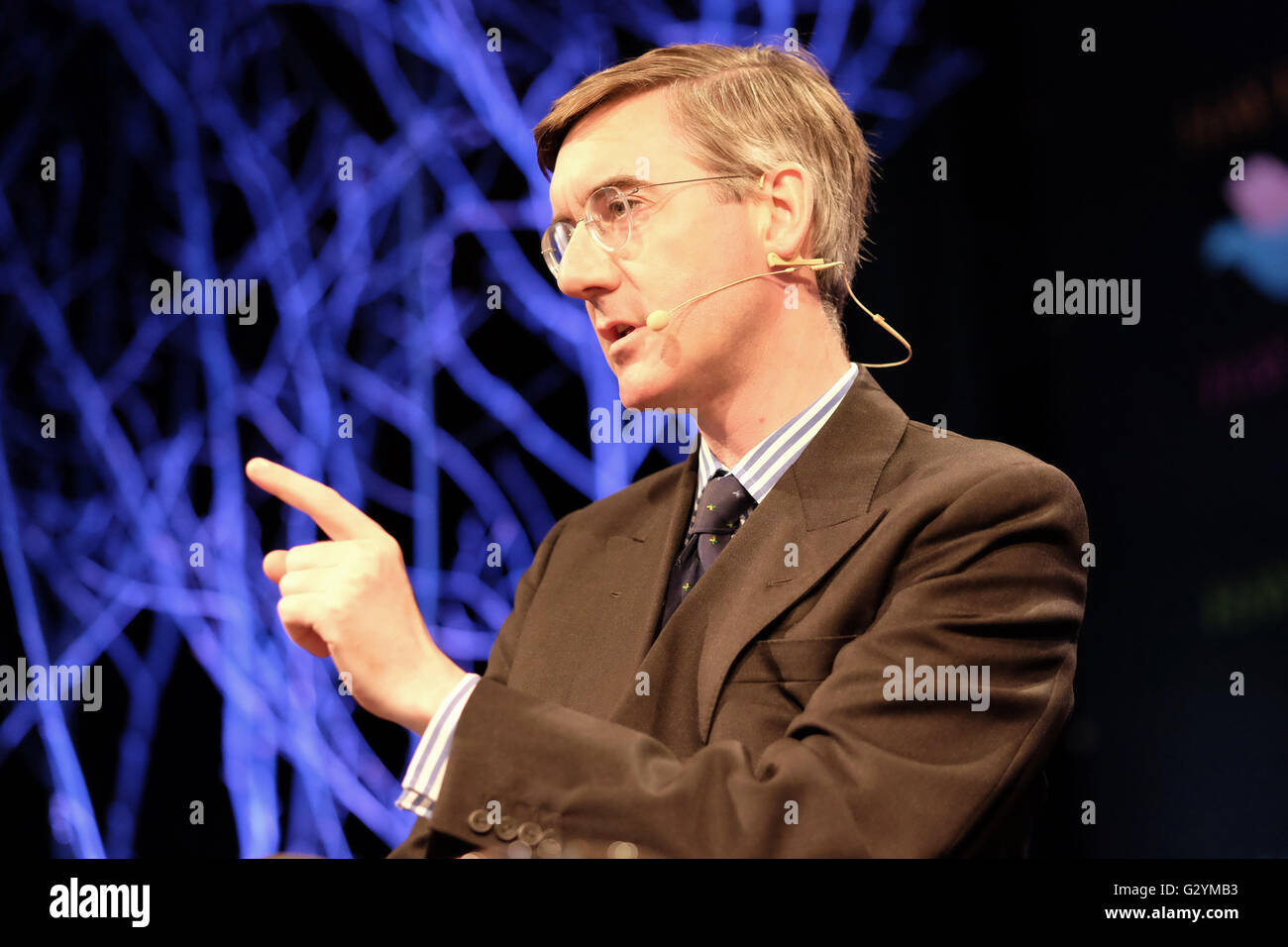 Hay Festival 2016, Wales, UK - June 2016 -  Tory MP Jacob Rees-Mogg on stage at Hay Festival taking part in the - Stock Image