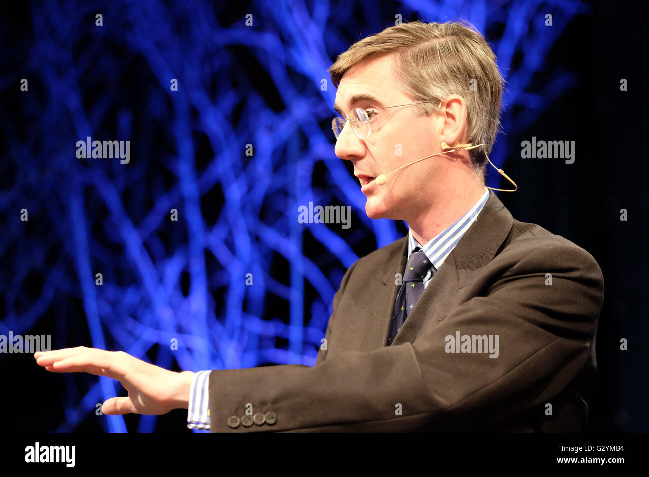 Jacob Rees-Mogg at Hay Festival 2016, Wales, UK - June 2016 -  Tory MP Jacob Rees-Mogg on stage at Hay Festival - Stock Image