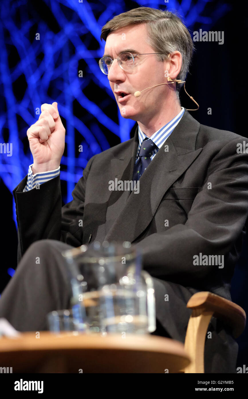 Hay Festival, Wales, UK - June 2016 -  Tory MP Jacob Rees-Mogg on stage at Hay Festival taking part in the debate - Stock Image