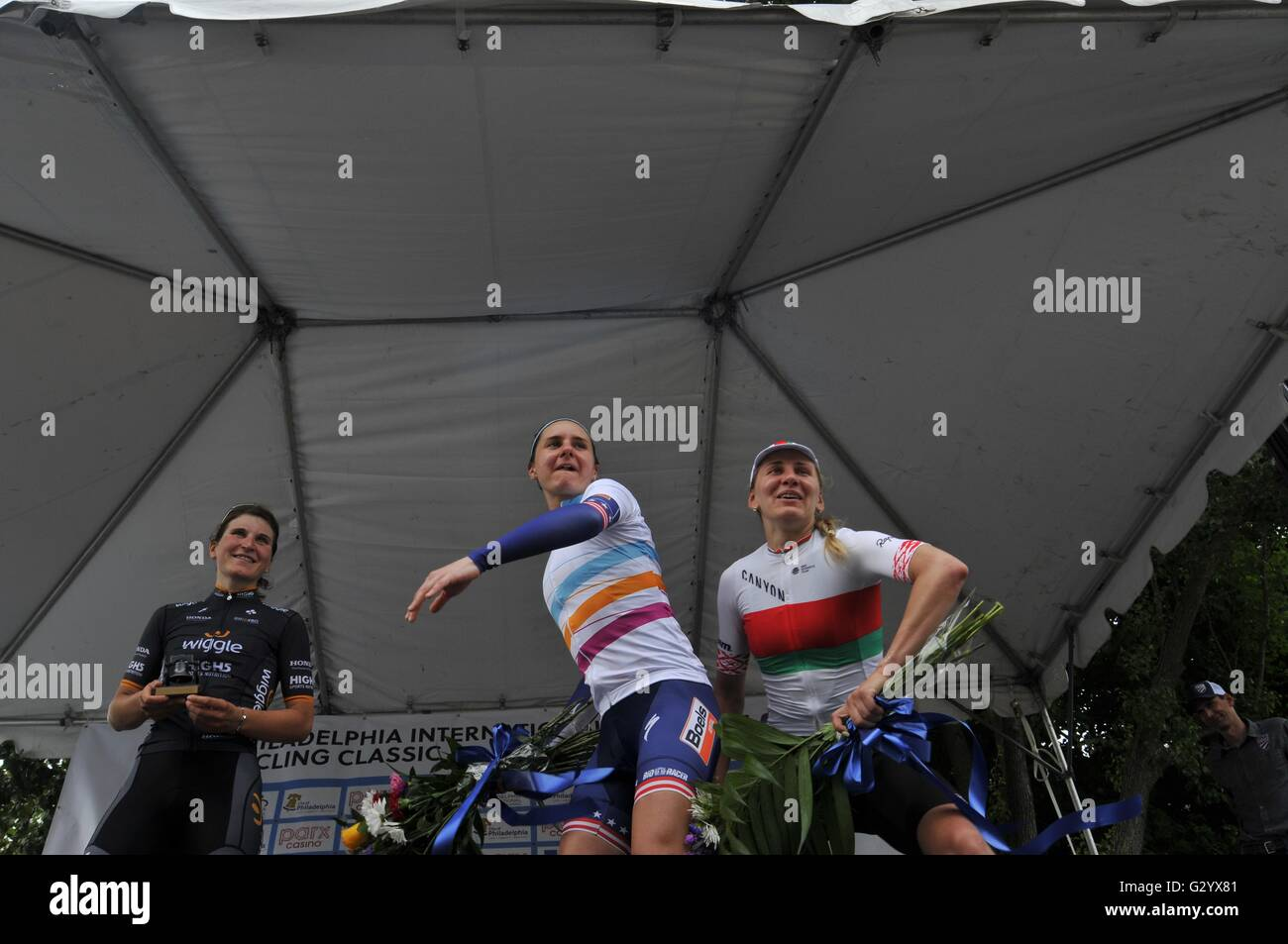 Philadelphia, Pennsylvania, USA. 5th June, 2016. The stage of the June 5th, 2016 UCI Women's World Tour Philadelphia Stock Photo