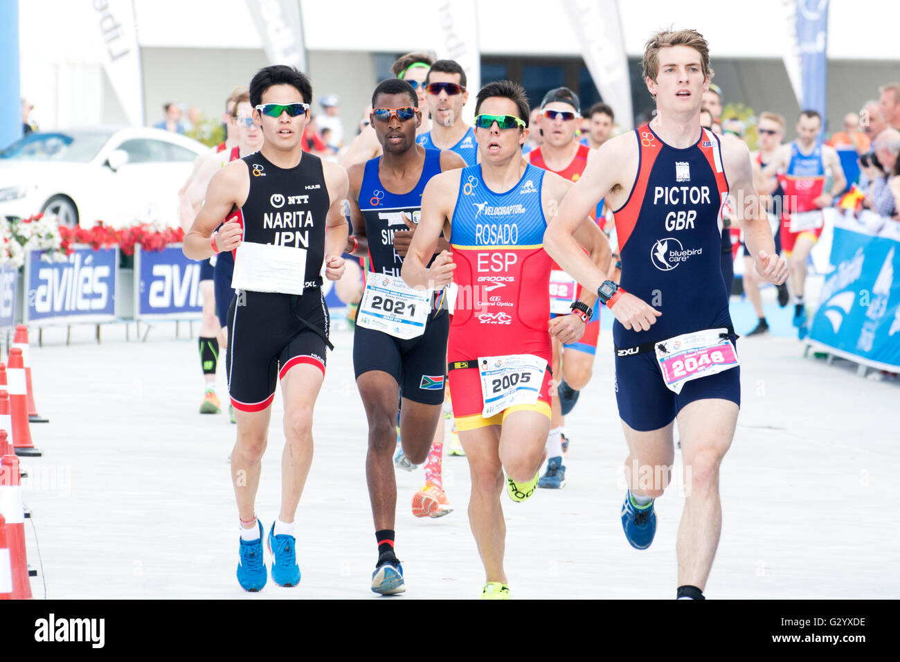 Aviles, Spain. 5th June, 2016. Athletes during the race of standar category of 2016 Aviles ITU Duathlon World Championships - Stock Image
