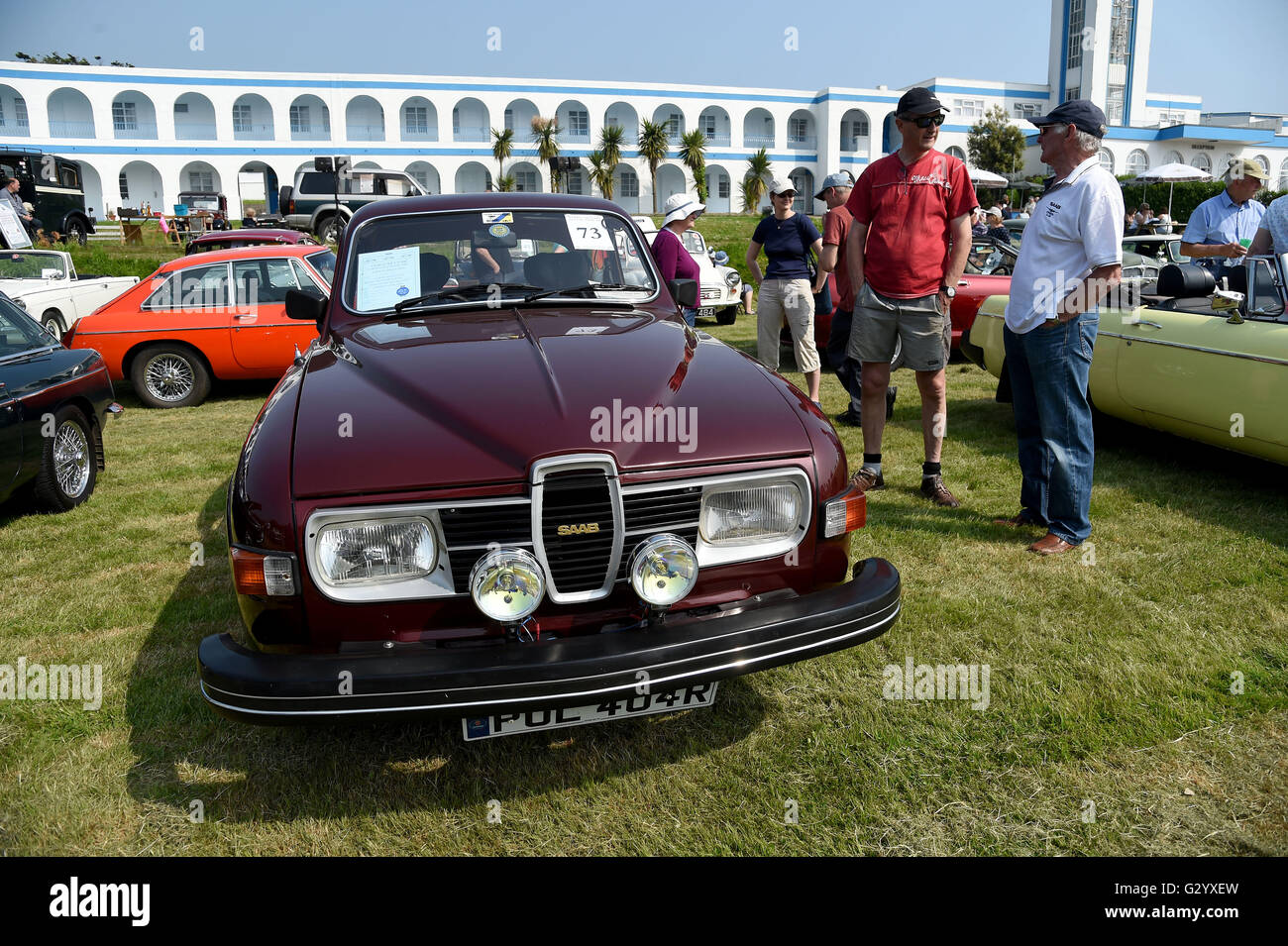 Saab 96 'Souvenir'. The Hardy Country Classic Car Tour - Stock Image