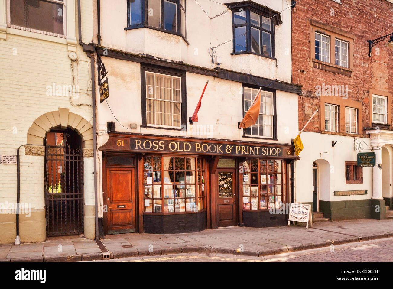 Ross Old Book and Print Shop, high street, Ross on Wye, Herefordshire, England, UK - Stock Image