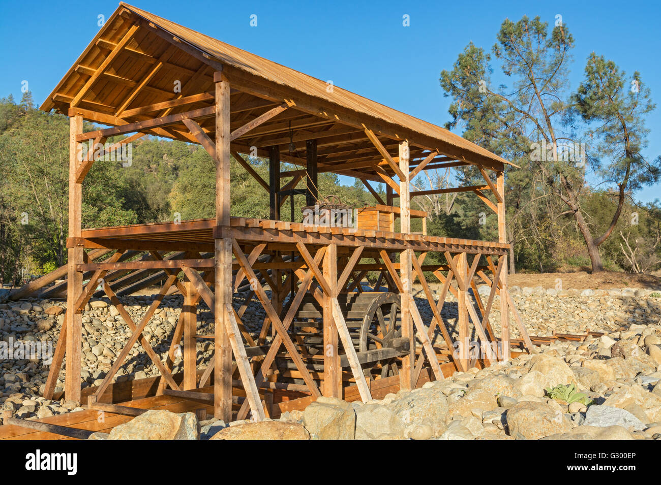 California, Coloma, Marshall Gold Discovery State Historic Park, Sutter's Mill replica - Stock Image