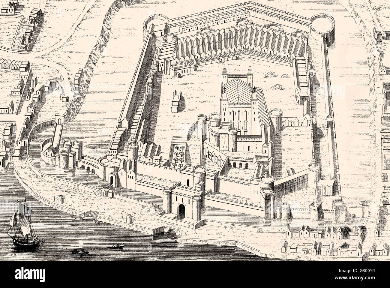 Tower of London, Her Majesty's Royal Palace and Fortress, a historic castle located on the north bank of the - Stock Image