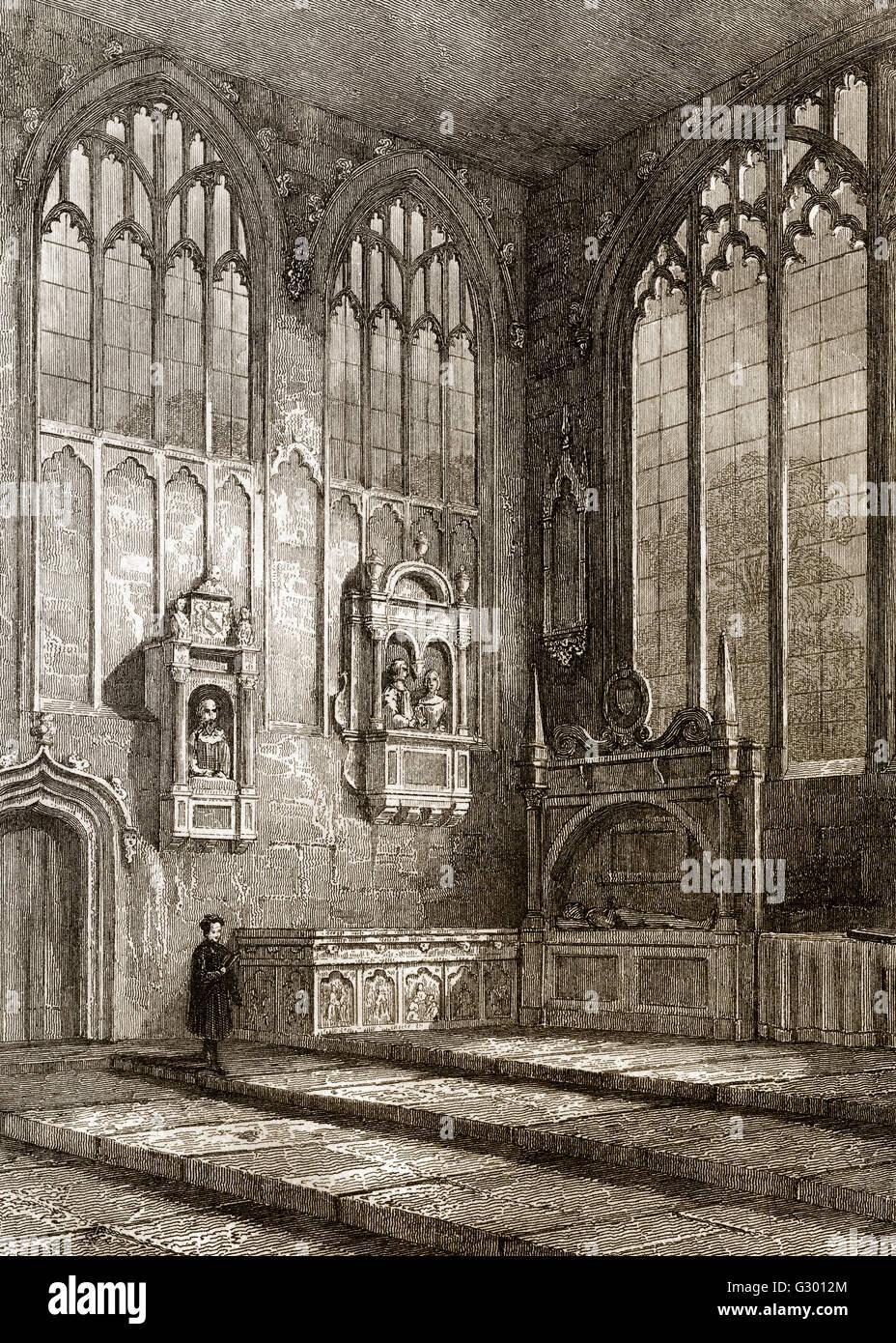 The Shakespeare funerary monument,  Holy Trinity Church, Stratford-upon-Avon, England - Stock Image