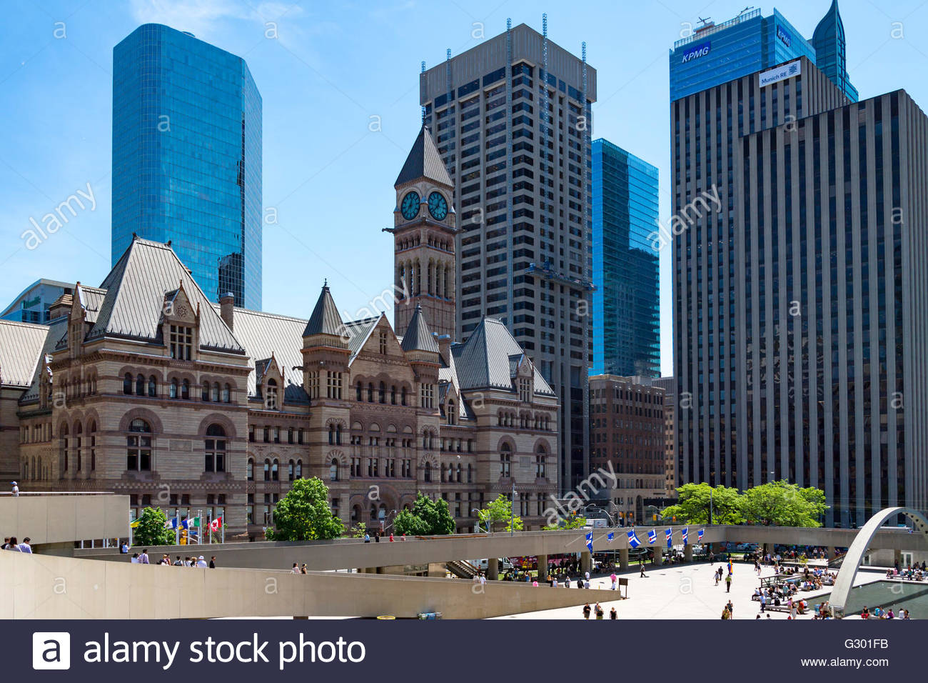 Aerial view of Old City Hall. The Richardson Romanesque Revival building is part of Toronto heritage. Image taken - Stock Image