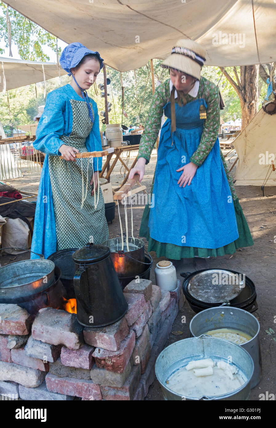 California, Coloma, Marshall Gold Discovery Historic Park, 'Gold Rush Live'  living history event, reenactor - Stock Image