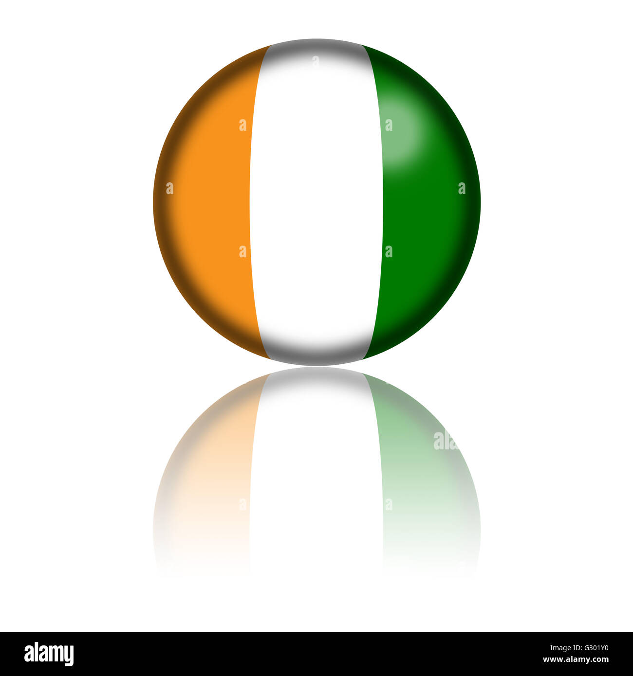 3D sphere or badge of Cote d'Ivoire flag with reflection at bottom. - Stock Image