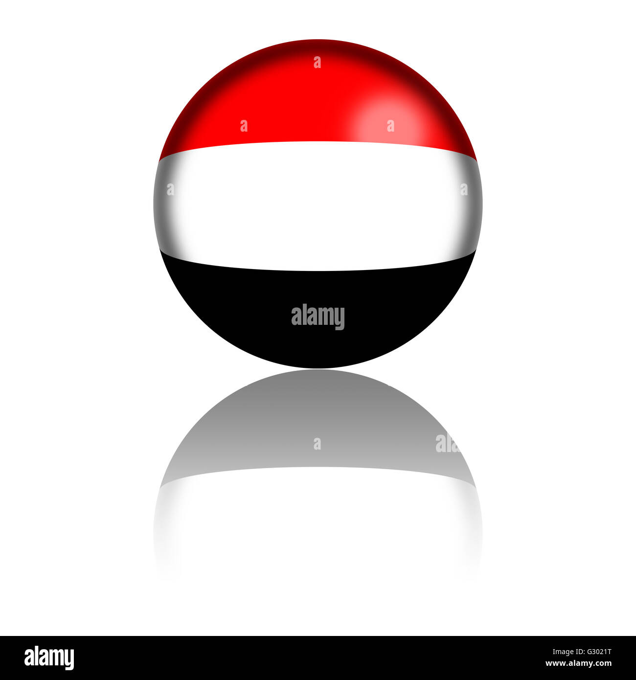3D sphere or badge of Yemen flag with reflection at bottom. Stock Photo