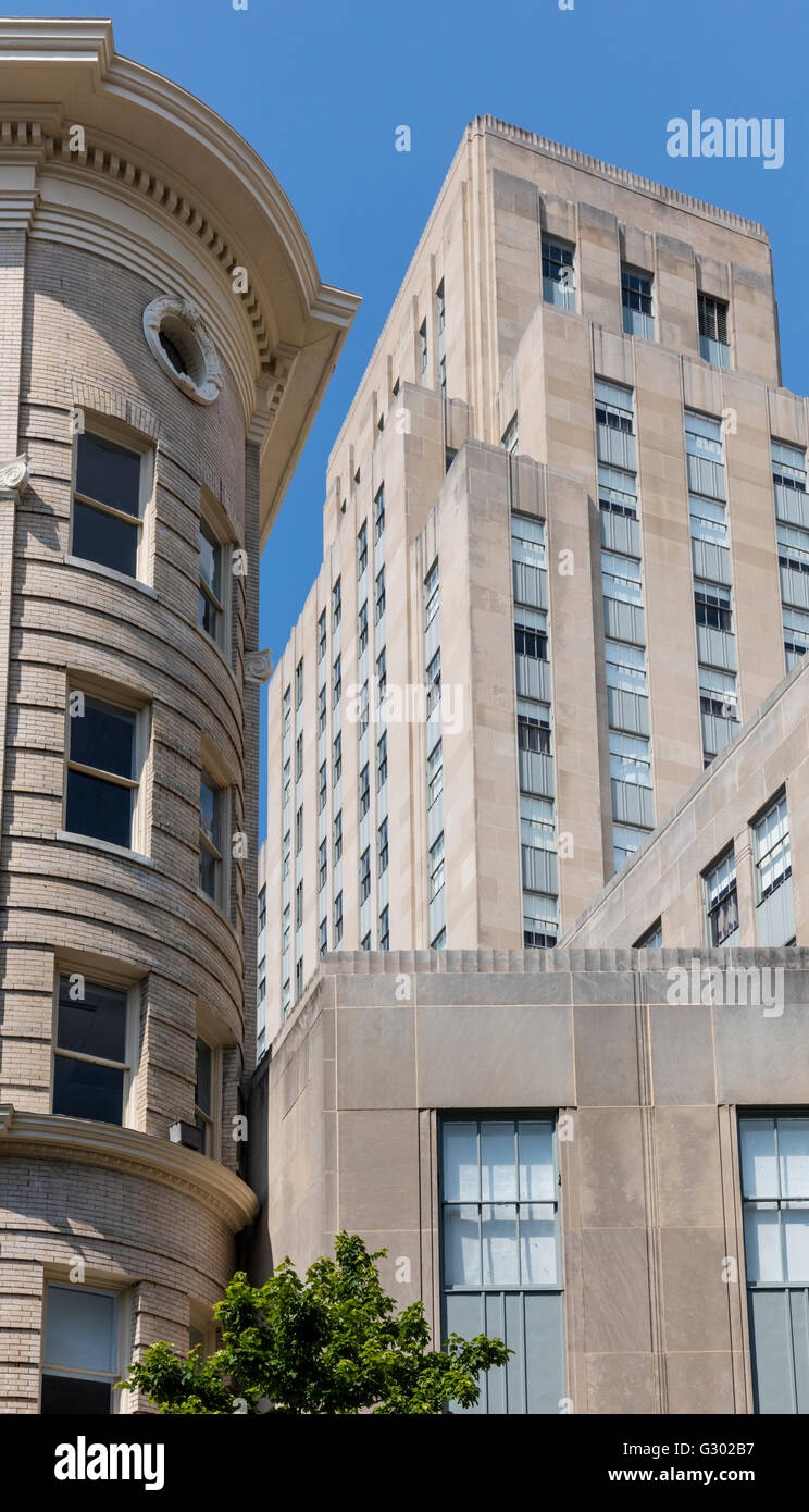 View Of Downtown Durham Nc Usa With Art Deco Tower Stock Photo