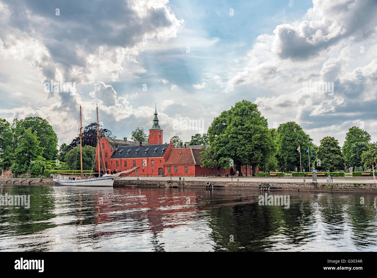 An image of Halmstad castle on the riverbank situated in the halland region of Sweden. Stock Photo