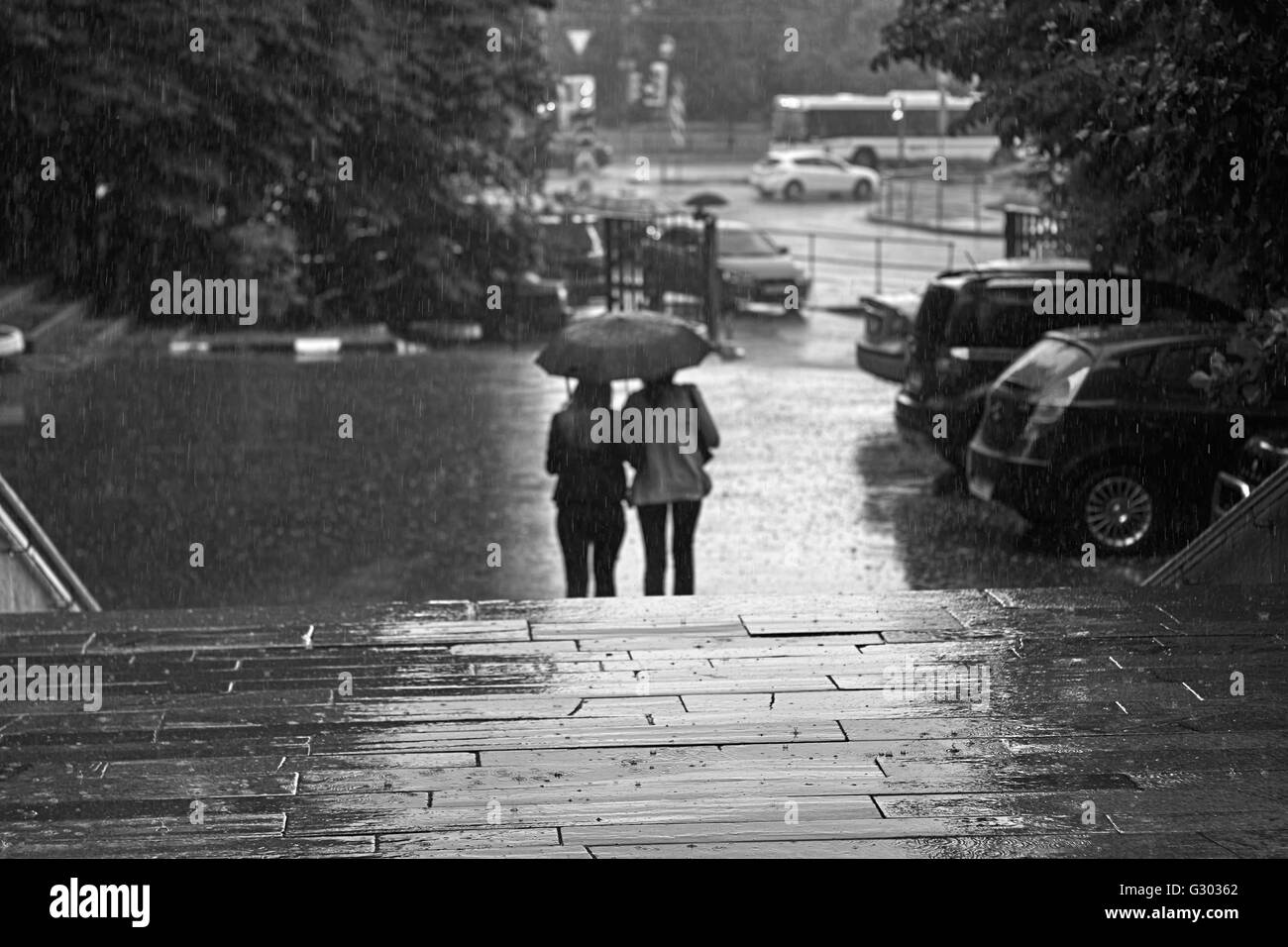 Walking in the rain. Silhouettes of people in the rain - Stock Image