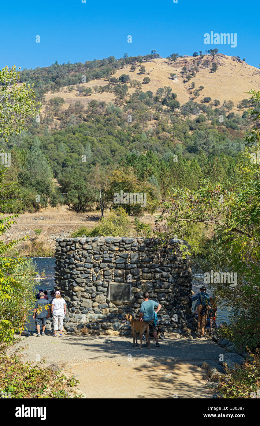 California, Coloma, Marshall Gold Discovery State Historic Park, Sutter's Mill Site on South Fork American River - Stock Image