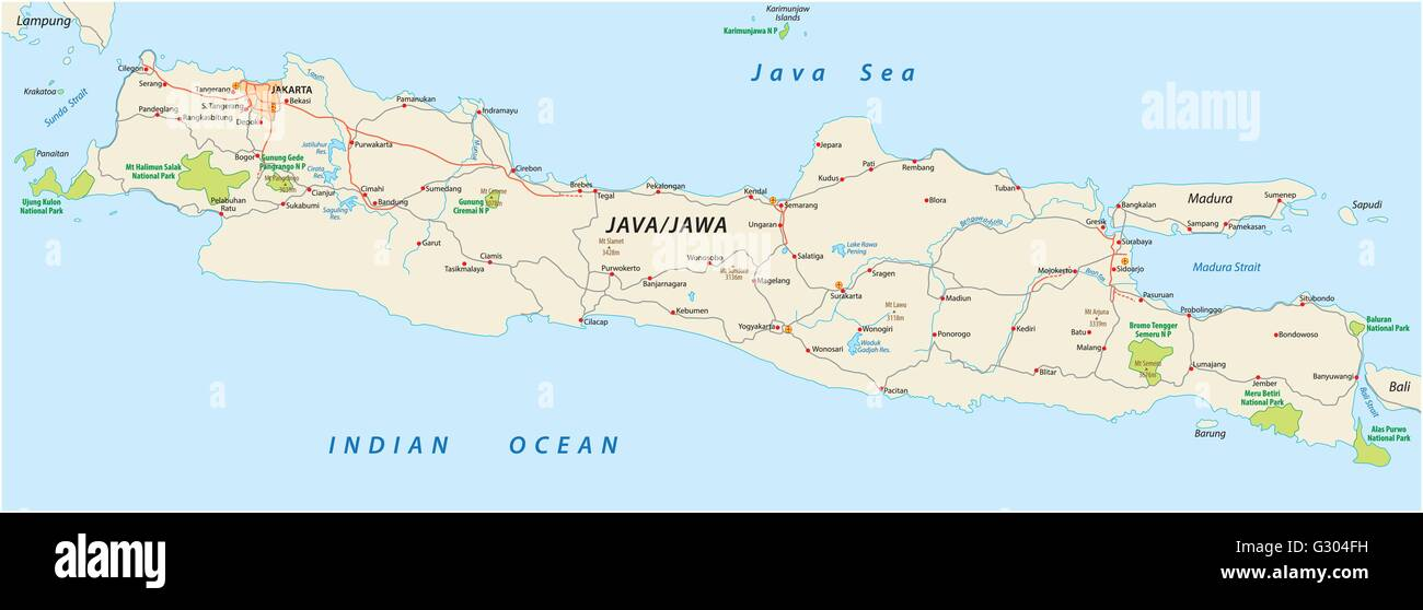 vector road and national park map of the Indonesian Iceland java