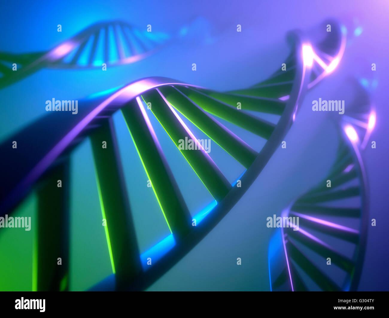 Dna (deoxyribonucleic acid) strand, illustration. - Stock Image