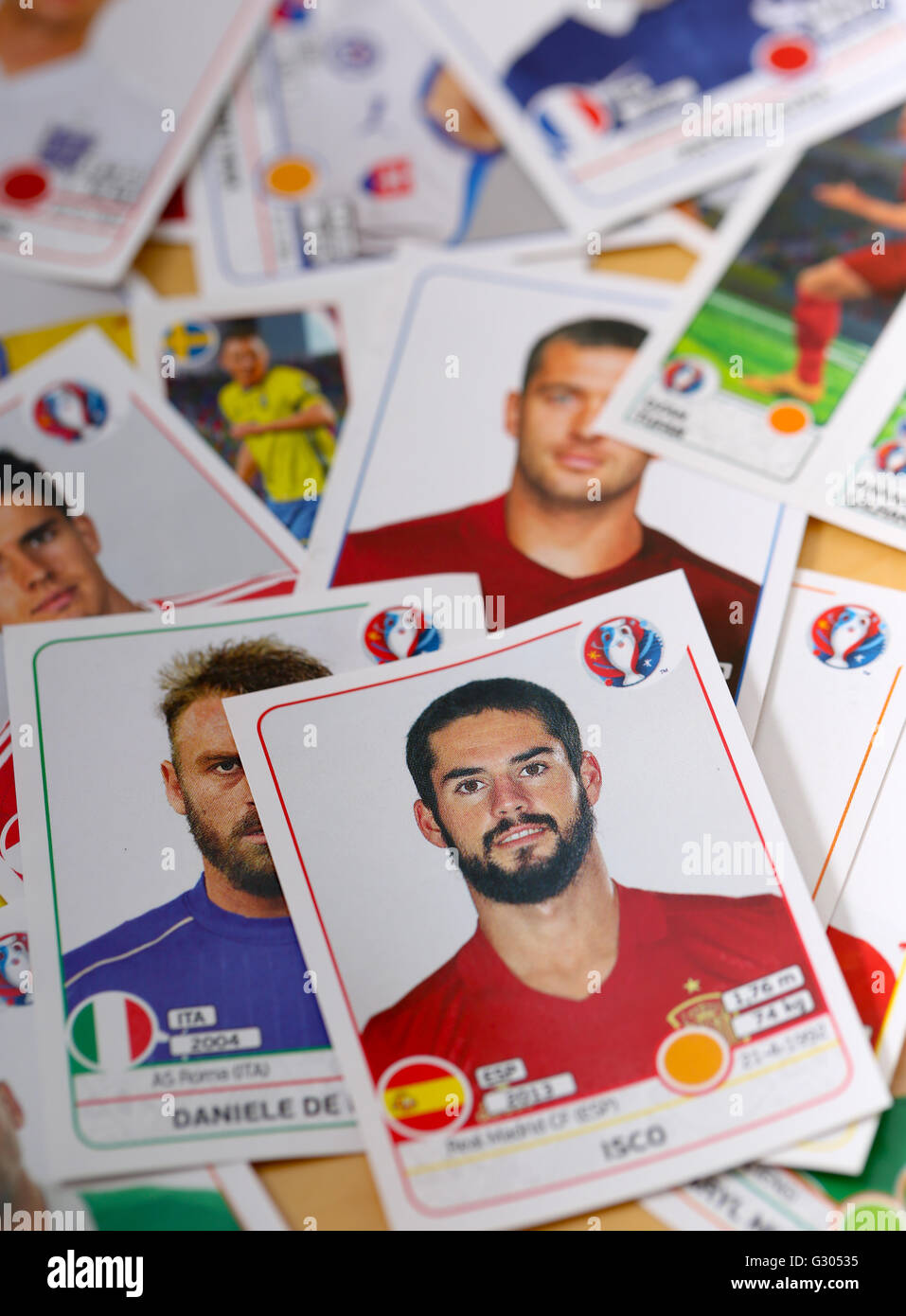 Pile of 2016 Panini football stickers - Stock Image