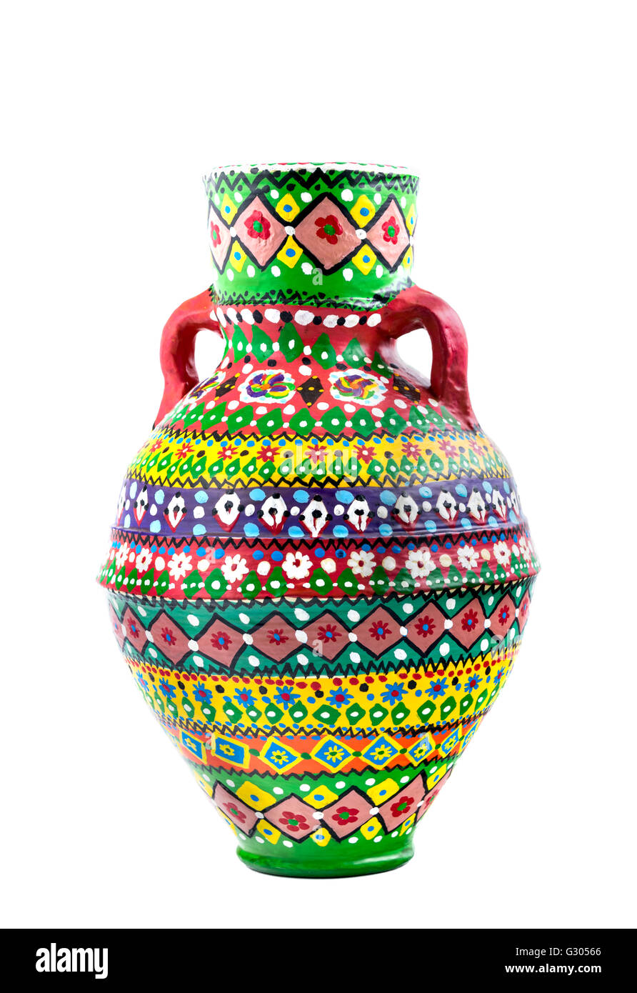 An Egyptian decorated colorful pottery vessel (arabic: Kolla) made of clay, one of the oldest habits of the Ancient - Stock Image