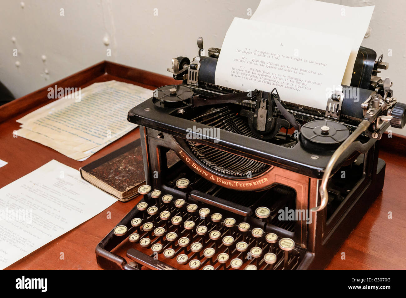 Old Office Desk And Typewriter From Early 1900s.