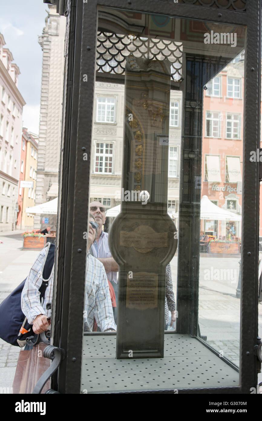 Fahrenheit Monument - Gdansk, Poland.  Daniel Fahrenheit was born in Danzig (now Gdansk) and a Fahrenheit Monument - Stock Image