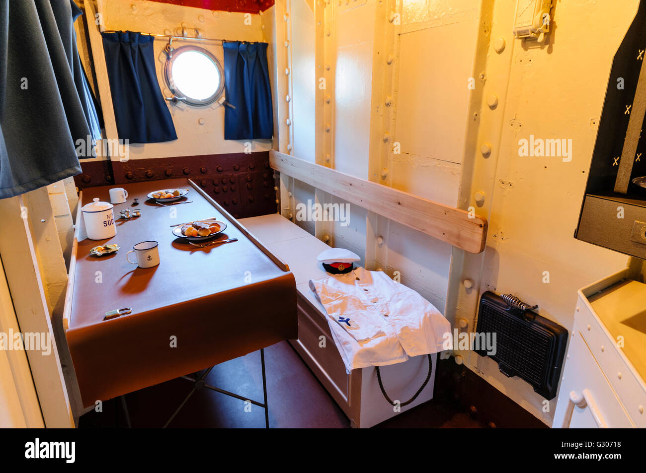 Mess room for the Chief Steward onboard HMS Caroline, Belfast, the last surviving ship from the Battle of Jutland. - Stock Image