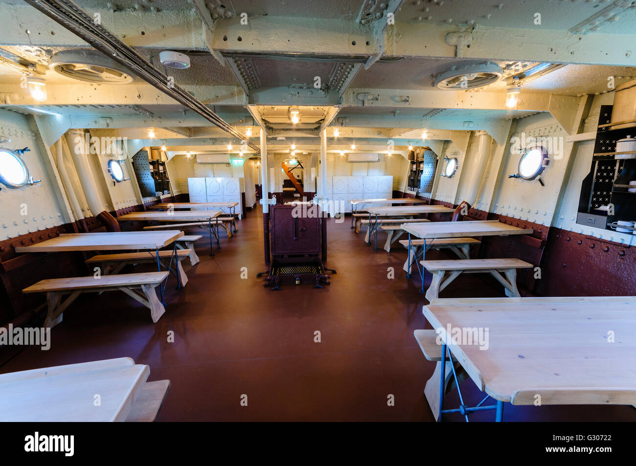 Visitor's cafe onboard HMS Caroline, Belfast, the last surviving ship from the Battle of Jutland. - Stock Image