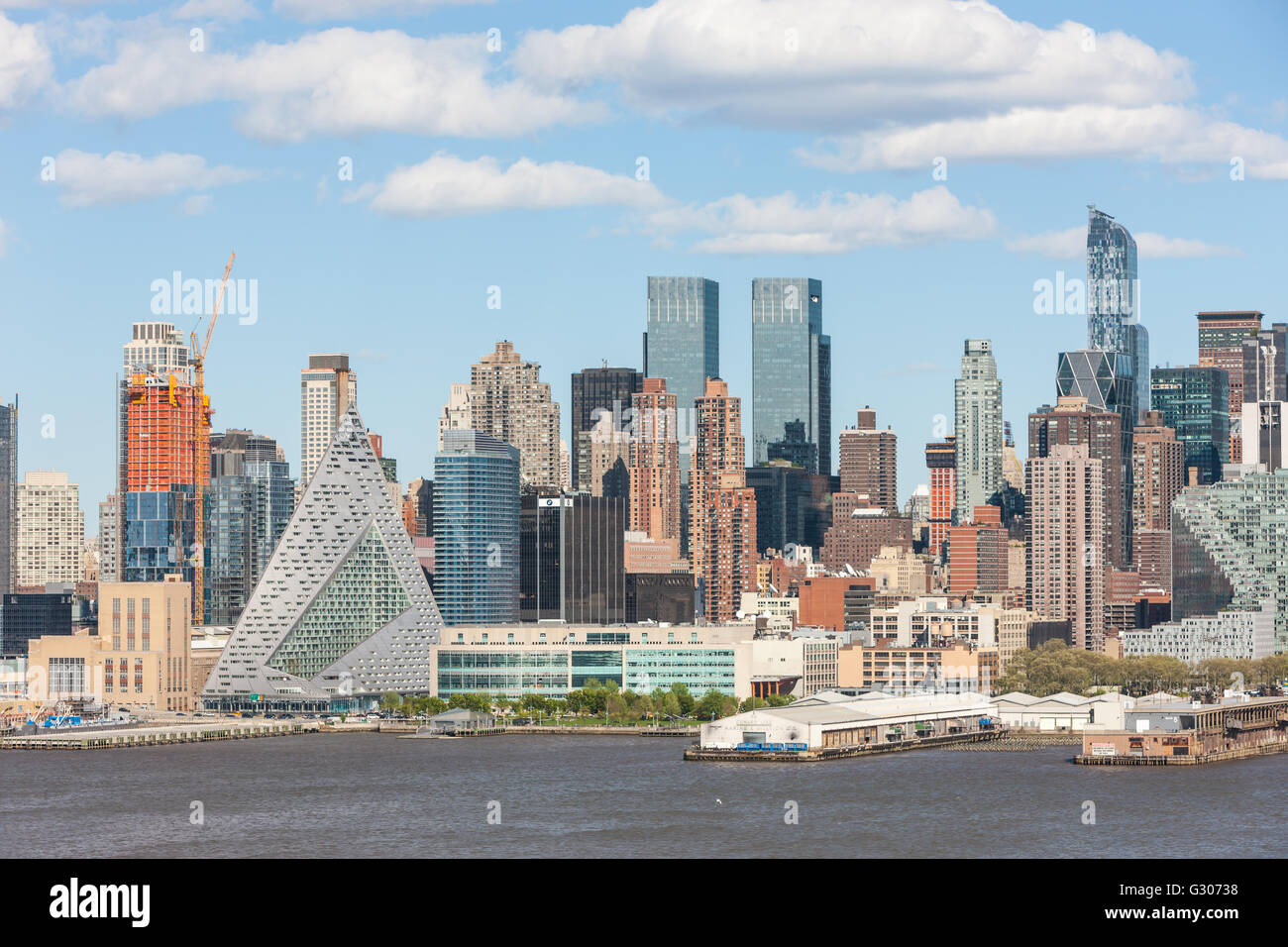 Part of the mid-town skyline, including new development on West 57th street, in New York City. - Stock Image
