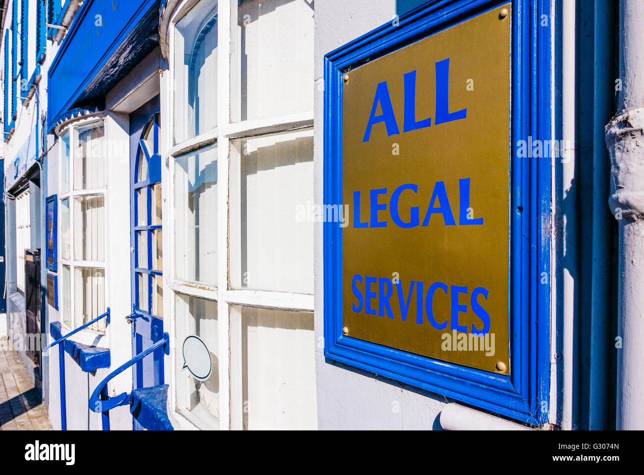 Sign outside a solicitor's office advertising 'All Legal Services'. - Stock Image