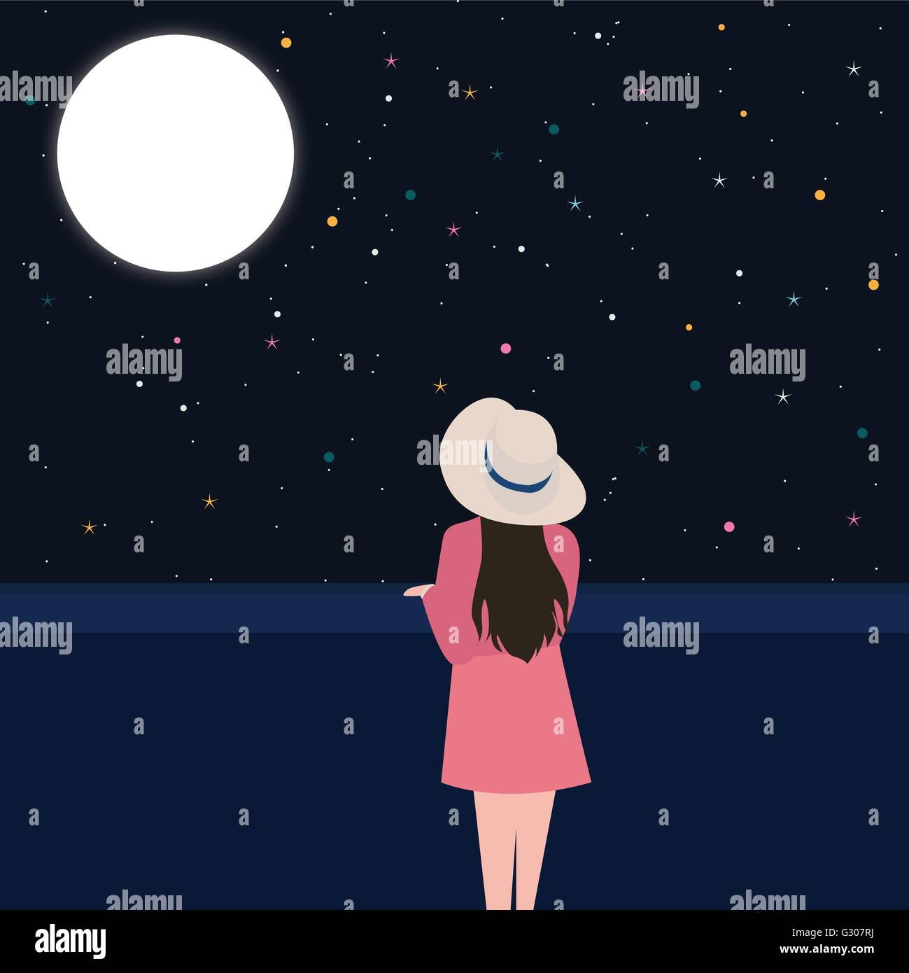 girls looking starring at the night sky alone contemplation thinking - Stock Vector