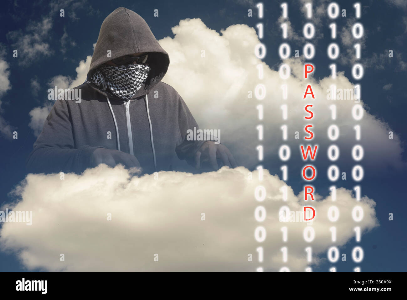 Hooded and masked computer hacker thief with a cloud computer based binary code background. Unknown technology threat - Stock Image