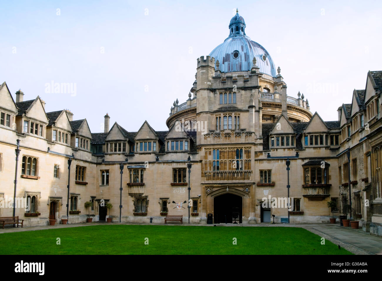 Brasenose College front quad, David Cameron's college, and the Radcliffe Camera, Oxford, Oxfordshire, England, - Stock Image