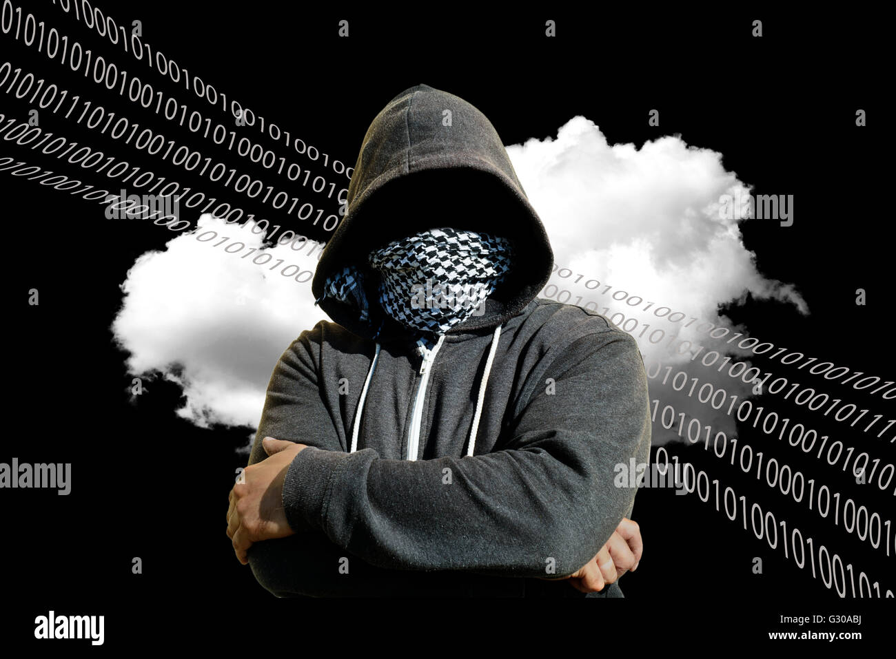 Hooded and masked computer hacker thief with a cloud computer based background. Unknown technology threat to the - Stock Image
