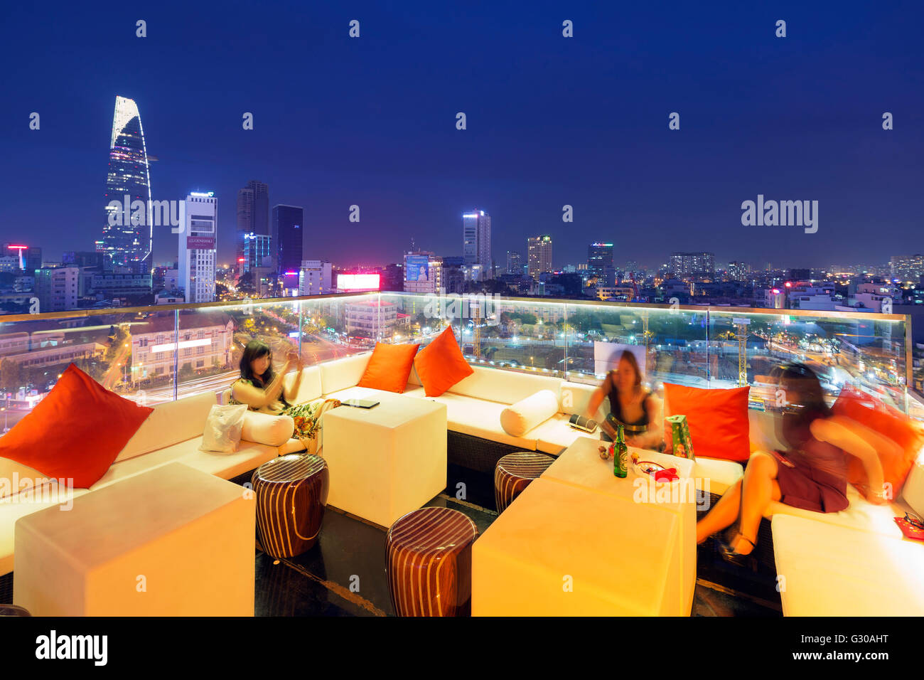 Rooftop bar at Silverland Central Hotel and Spa, Ho Chi Minh City (Saigon), Vietnam, Indochina, Southeast Asia, - Stock Image