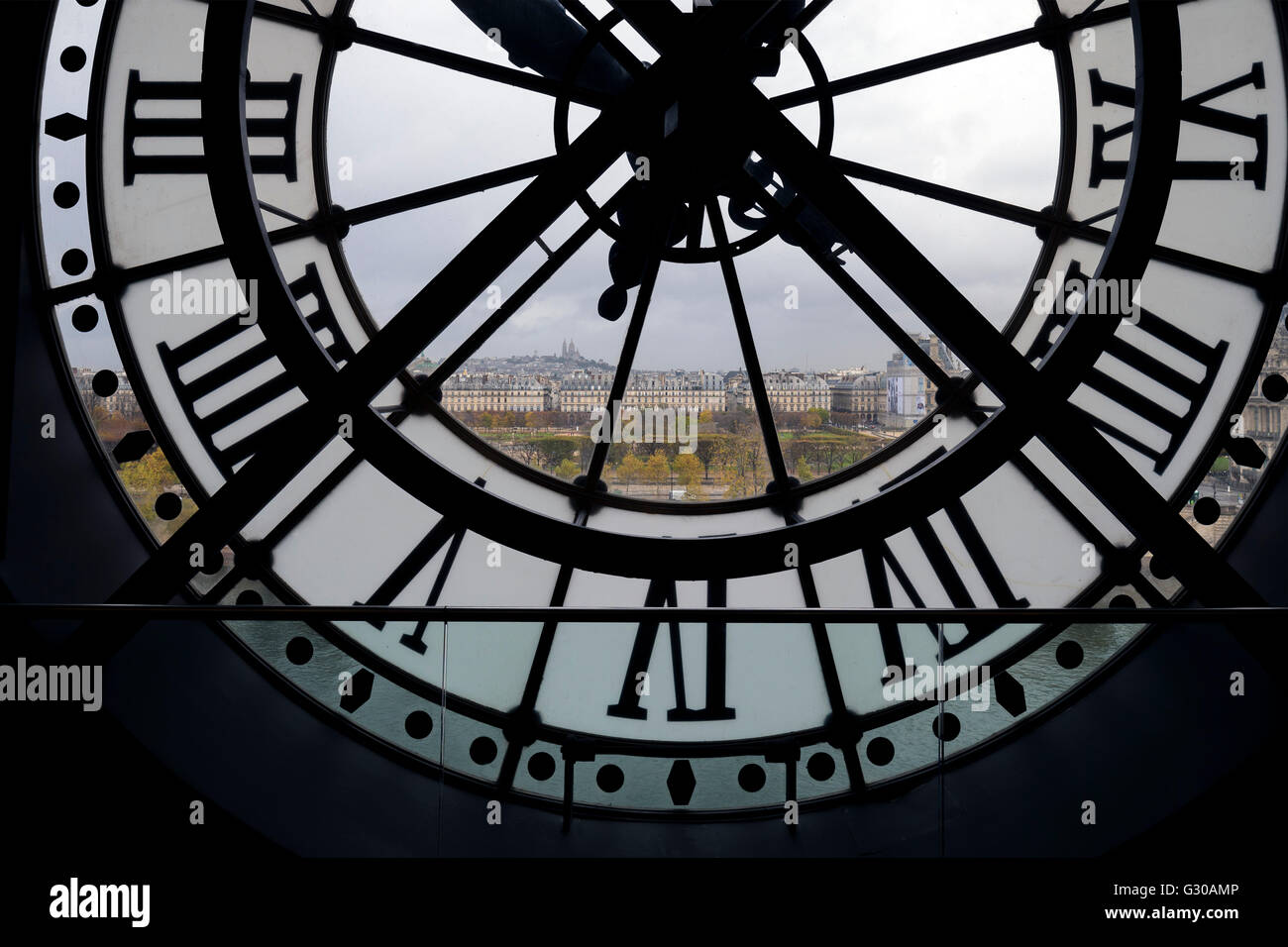 View through clock face from Musee D'Orsay toward Montmartre, Paris, France, Europe - Stock Image